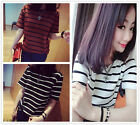 Hot Women's Striped Slim Casual Cotton Short Sleeve Tees T Shirts Tops Blouse