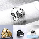 New Men Stainless Steel Silver Black Gothic Punk Biker Skull Party Ring Size 10
