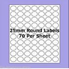 Blank Self Adhesive 25mm Round Circle Labels ~ 70 per A4 Sheet