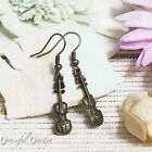 ER2975 Graceful Garden Vintage Style Bronze Tone Mini Guitar Charm Earrings