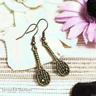 ER2977 Graceful Garden Vintage Style Bronze Tone Tennis Racket Racquet Earrings
