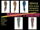 BNWT Women's Seamless Leggings Zigzag Print Pattern Poly Brushed OS SS9012