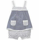 First Impressions Baby Girls 2-Pc Top & Bloomers Set - Navy and White