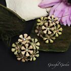 ER2983 Graceful Garden Golden Peach Yellow Enamel Crystal Cluster Stud Earrings