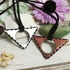 NL0435 Graceful Garden Vintage Style Brown Faux Suede Triangle Pendant Necklace