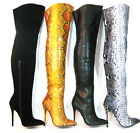 "Sexy 4.5"" Classic High Heel Thigh High Solid or Snake Boots 5-14 FIERCE-11-SM"