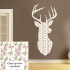 Vintage Shabby chic Stag head Colour Wall Art Sticker Butterfly PS12