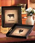 "NEW Antiqued Distressed Country Farmhouse Serving Tray Rooster or Cow 14"" sq"