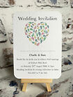Personalised Day & Evening Wedding  Invitations & Envelopes- Pastel Heart Design