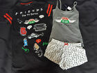 Bnwt Primark Friends Central Perk Pyjamas Nightshirt Pj's Vest & Shorts 6 - 20