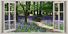 Bluebell Woods Pathway Trees 3D Effect Window Canvas Picture Wall Art Prints