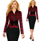 Vintage Long Sleeves Women's Dresses Work Office Bodycon Pencil Skirt POLO Neck