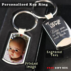 Personalised  Chrome Keyring Photo Printed/Engraved Keepsakes collectable Gift ❤
