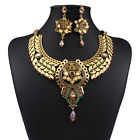 Retro Jewelry Crystal Necklace With Earrings Set Pendant Chain Choker Womens