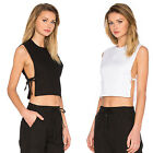 New Women's Side Slits Tie Closures Crop Top Shirt Tee Tank Cami Blouse Vest