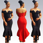 Sexy Women's Bodycon V-neck Off Shoulder High Waist Mermaid Clubwear Long Dress