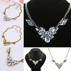 New Fashion Women Gold Silver Plated Bib Crystal Pendant Chain Satement Necklace