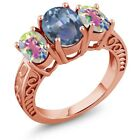 3.40 Ct Cassiopeia & Mercury Mist Mystic Topaz 18K Rose Gold Plated Silver Ring
