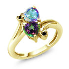 1.93 Ct Green and Mercury Mist Mystic Topaz 18K Yellow Gold Plated Silver Ring