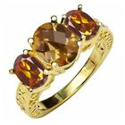 2.80 Ct Checkerboard Quartz & Madeira Citrine 18K Yellow Gold Plated Silver Ring