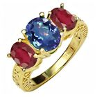 3.80 Ct Mystic Quartz African Red Ruby 18K Yellow Gold Plated Silver Ring