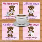 PERSONALISED DRINKS COASTER CLEANING BEARS IRONING LAUNDRY BUCKET YOUR NAME GIFT