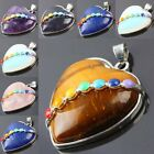 Natural Gemstone Quartz Crystal 7 Chakra Healing Enamel Stone Heart LOVE Pendant