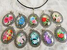 Vintage Look Glass Cabochon Pendant and Leather Cord Necklace Set Floral Designs