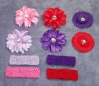 Red & Pink Hat Ladies: Crocheted Hatband or Headband w/Flower Clip