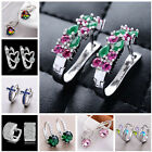 Women Fashion 925 Sterling Silver Crystal Rhinestone stud Hoop Earrings Jewelry