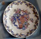 WALL OR MANTLE DECORATIVE PLATE, Floral Basket, Ribbon Band Rim