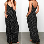 Sexy Women Summer Boho Long Maxi Evening Party Beach Chiffon Polka Dot Dress NEW