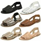 Ladies Leather Collection Flat Weaved Sandal / Slingback