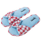 Red Plaid Women's Bowknot Open Toe Fleece Spa Slippers Bedroom House Shoes