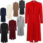 NEW LADIES PLUS SIZE LONG SLEEVE COLLARED MAXI BOYFRIEND OPEN CARDIGAN 14-22