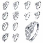 Fashion S925 Sterling Silver Women's Cz Engagement & wedding Ring Size 5-9