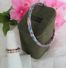 Vintage GLASS CLOISONNE PURPLE LAVENDER BRACELET AND RING SET