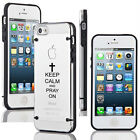 For iPhone SE 5 5s 5c 6 6s Plus Clear TPU Case Cover Keep Calm Pray On Cross