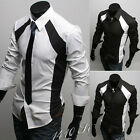 2 Colors Classic Mens Slim Fitted Luxury Dress Slim Casual Shirts Black White