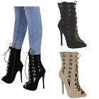 womens ladies cut out stiletto heel open toe ankle boots caged detail shoes size
