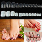 500pc Natural Clear Toe Nails Full Cover Tips Pedicure False Art Acrylic Gel UV