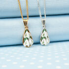 SNOWDROP tear-drop PENDANT necklace  hand-painted flower jewellery made in Wales