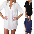 SizeM-3XL Womens V Neck Chiffon Top Long Sleeve Button Tee Shirt Loose Blouse UF