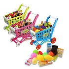 Kids Childrens Mini Shopping Trolley Cart Role Play Set Toy Plastic Fruit Food
