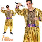 Adult 1980s MC Hammer Costume Mens Rapper Celebrity Gold Fancy Dress Outfit New