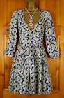 NEW LADIES ZARA BLUE GREEN YELLOW FLORAL VINTAGE STYLE DRESS SIZE S (UK 6, 8)