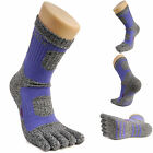 Womens Crew Sports Running Cycling Coolmax Cotton Five Finger 5 Toe Socks Purple