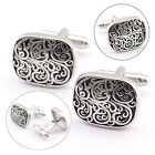 Mens Classic Silver Vintage Shirt Cufflinks Carved Toned Wedding Business Party