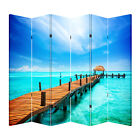 4 & 6 Panel 6ft Tall Canvas Double Sided Folding Screen Room Divider- Pier