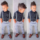 Kids Baby Boys Toddler Long Sleeve T-shirt + Bib Pants Overalls Clothes Outfits
